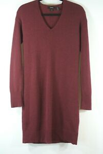 NEW Theory V-Neck Sweater Dress in Cashmere Cranberry - size P #D3904