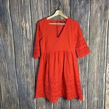 Madewell Dress Size 0 Eyelet Lattice Orange Solid Boho 3/4 Sleeve V-neck