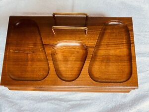 Vtg Mid Century Modern Men's Walnut Jewelry Dresser Valet Box Organizer Drawer