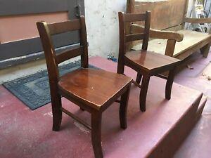 RARE Vintage Pottery Barn Toddler Solid Wood Chair Ergonomic Brown Espresso 2009