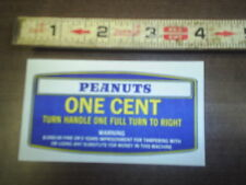 masters turn handle peanut 1 cent gum paper decal stock # 126A