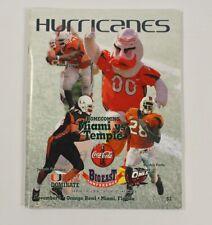 Miami Hurricanes Football Temple Homecoming Orange Bowl November 3 2001 Program