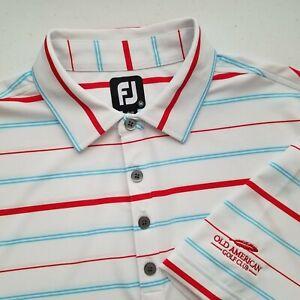 Footjoy Old American Golf Club Embroidered Sleeve Polo Shirt Mens Medium EUC X22