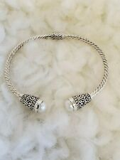 Samuel B. Sterling Silver & 18K Cable Pebble Hinged Cuff Bracelet