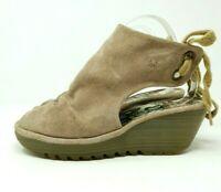 Fly London Beige Suede Leather Wedge Shoes Open Toe Open heel Quirky UK 6 EU 39