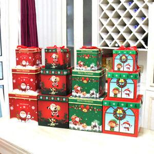 3PCS Christmas Gift Box Packaging Santa Snowman Container Holiday Decor Ornament