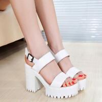 ladies roma Women's High Chunky Heels Platform Strap Sandals Summer Punk Shoes