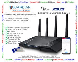 Asus RT-AC87U MULTI-VPN Router 30 VPN providers DNSCrypt Plug& Play Guardian App