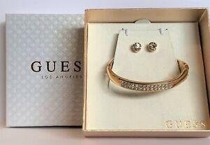 NWT GUESS BANGLE BRACELET & EARRINGS Gold & Rhinestone GIFT BOX SET - GENUINE