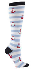 Sock It To Me 'Anchor' Ladies Funky Knee High Socks, Blue and White Stripes