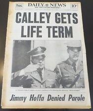 1971  NY NEWSPAPER - LT. CALLEY -  MY LAI MASSACRE - VIETNAM WAR + JIMMY HOFFA
