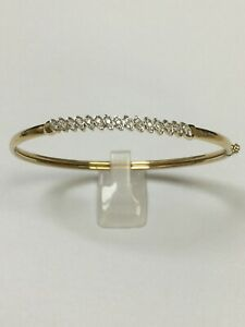 9 Carat Yellow Gold DIAMOND Set BANGLE 0.10 carats