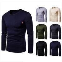 Mens Causal Sweatshirt Plain Fleece Crew Neck Jumper T-shirt Top Pullover