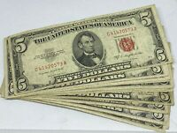 Lot of 10 - 1953 $5.00 $5 Five Dollar - Red Seal - Legal Tender Notes Collection