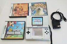 Nintendo DS Original Silver Handheld Video Game System plus games Mario VGC