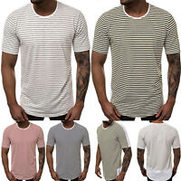 Men's Slim Short Sleeve Round Neck Striped T-Shirt Gym Muscle Tee Tops Shirts