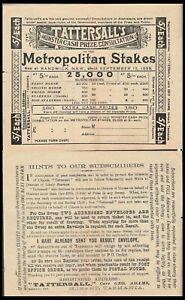 TATTERSALL'S 1899 UNUSED 5/- METROPOLITAN STAKES TICKET IN BLACK AT RANDWICK (M)