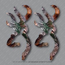 2 x Browning Style Camo Buck Camouflage Hunting Stickers Decals - SKU2900