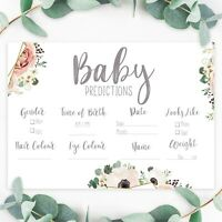 Baby Shower Games - Prediction Cards Boho Floral Tea Party New Mum To Be Unisex