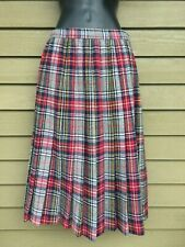 "Vtg 80s The Villager Red Gray Blue Wool Plaid Midi Skirt S EUC Waist 26"" Hips 39"