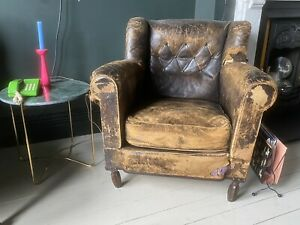 Distressed Leather Armchair