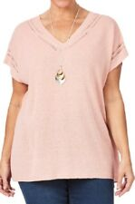 Linen/Cotton Beme Soft Pink Knitted Tunic/Top Loose Fitting Longline Hem Size 20