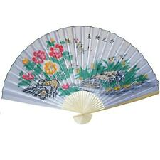 "Large 84"" Folding Chinese Wall Fan Oriental Paper Hanging- White Flower Tree"