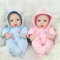 """10"""" Lifelike Twins Baby Dolls Lifelike Full Vinyl Silicone Babies Boy Girl Gift"""