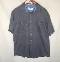 Orvis Mens Button Front Shirt Sz Large L 100% Cotton Blue Outdoor Hiking