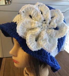 Royal Blue.  White Sparkly WINTER CLOCHE BEANIE CAP FLAPPER HAT HAND CROCHET new