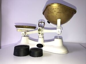 Vintage Style Salter No56 White Counter Balance Scales with Brass Bowl & Plate