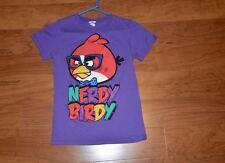 Girl's Angry Birds T-shirt, purple, size: medium, EUC