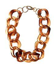 "Tortoiseshell Choker Necklace Long Chunky Resin Jewlery w/ Faux Gold Links 19"""