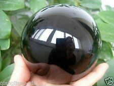 HOT* NATURAL OBSIDIAN POLISHED BLACK CRYSTAL SPHERE BALL 80MM +FREE GIFT