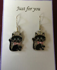 LUCKY BLACK CAT KITTEN CUTE ENAMEL EARRINGS Silver plated hooks GIFT PRESENT