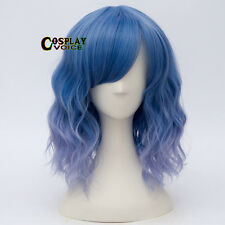 35cm Lolita Short Mixed Blue Ombre Gradient Bang Fashion Party Cosplay Hair Wig