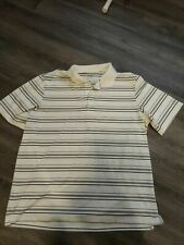 Adidas Mens XL Puremotion 3 Stripe Life White Black Striped Golf Shirt Polo