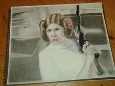 Original 14x17 mixed media drawing of Carrie Fisher/Princess Leia/Star Wars