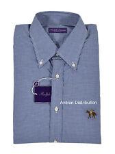Ralph Lauren Purple Label Blue Gingham Equestrian Horse Dress Shirt New $450