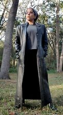 Woman's Matrix Black Leather Maxi Long Trench Coat w/ Quilted Lining Size M