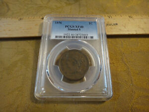 1856 Slanted 5 United States Large Cent 1c Coin Graded PCGS XF40
