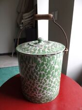ANTIQUE FRENCH GRANITEWARE ENAMELWARE ART DECO BODY BUCKET GREEN AND PINK