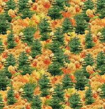 Beautiful Covered Bridges Coordinate Fall Tree Print cotton Quilt fabric x Blank