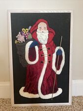 Vintage Punch Needle Completed Picture Santa Claus Christmas Embroidery Crewel