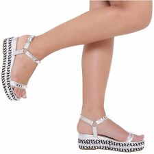WOMEN LADIES FLAT PLATFORM WEDGES LATEST FASHION ANKLE STRAP WITH STUDS SIZE 3-8