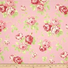MASSIVE REMNANT Tanya Whelan Lulu Roses LULU Cotton Fabric -Pink-Appx 114cmx1.5M