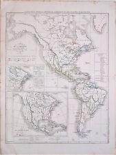 Carte de l'AMERIQUE et des COLONIES, L. Dussieux 1852. 33.5 x 44 cm.