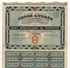 CITROEN: André Citroen S.A., Paris ? Genuss-Schein aus dem Jahr 1927 !!!