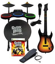 XBox 360 Guitar Hero WORLD TOUR Band Kit,Drums,SUNBURST Guitar,GH Mic,Shade,Game