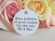 20 X White Wedding Bubbles Gift Swing Tags (tags Only) Great for Bomboniere